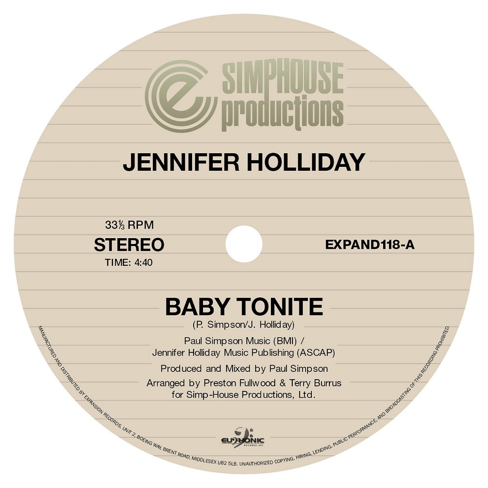 "Jennifer Holiday/BABY TONIGHT 12"""
