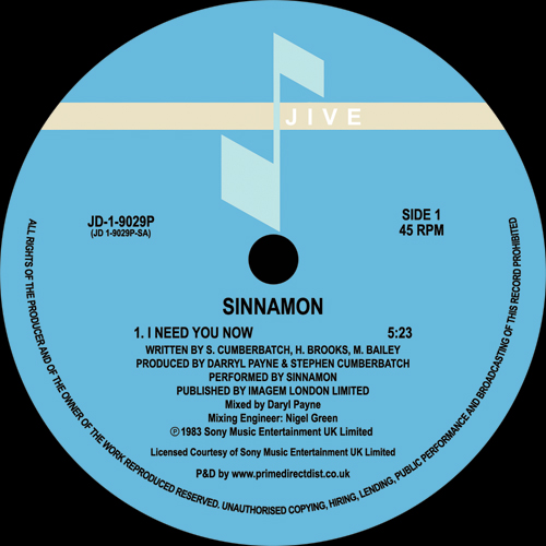 Sinnamon/I NEED YOU NOW 12""