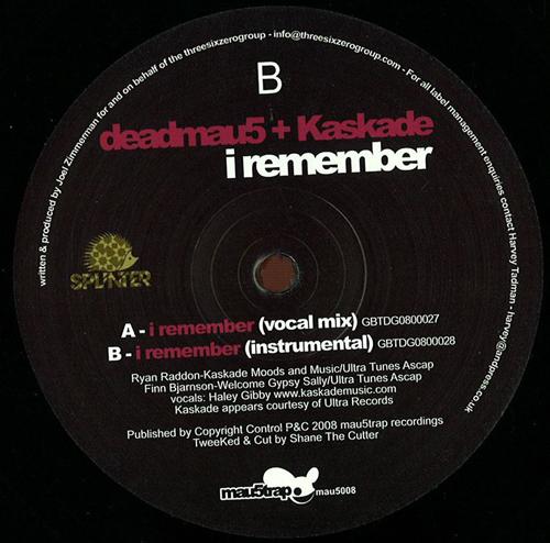 "Deadmau5/I REMEMBER (WITH KASKADE) 12"""