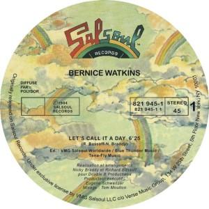 "Bernice Watkins/LET'S CALL IT A DAY 12"""