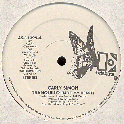 Carly Simon/TRANQUILLO & YOU BELONG..12""