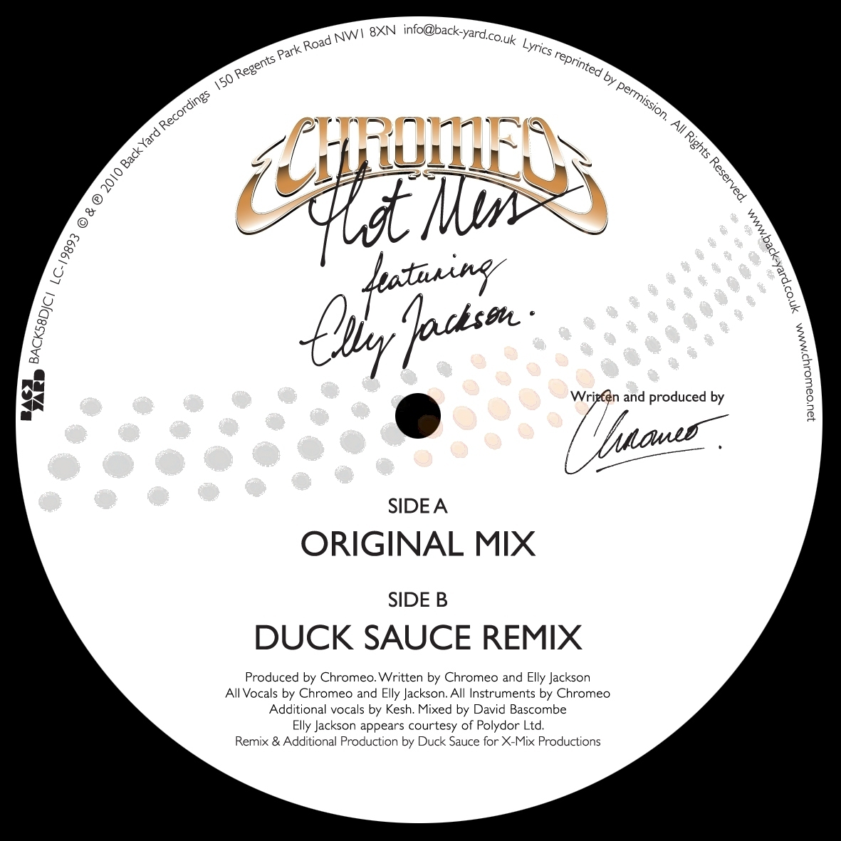 Chromeo/HOT MESS (DUCK SAUCE REMIX) 12""