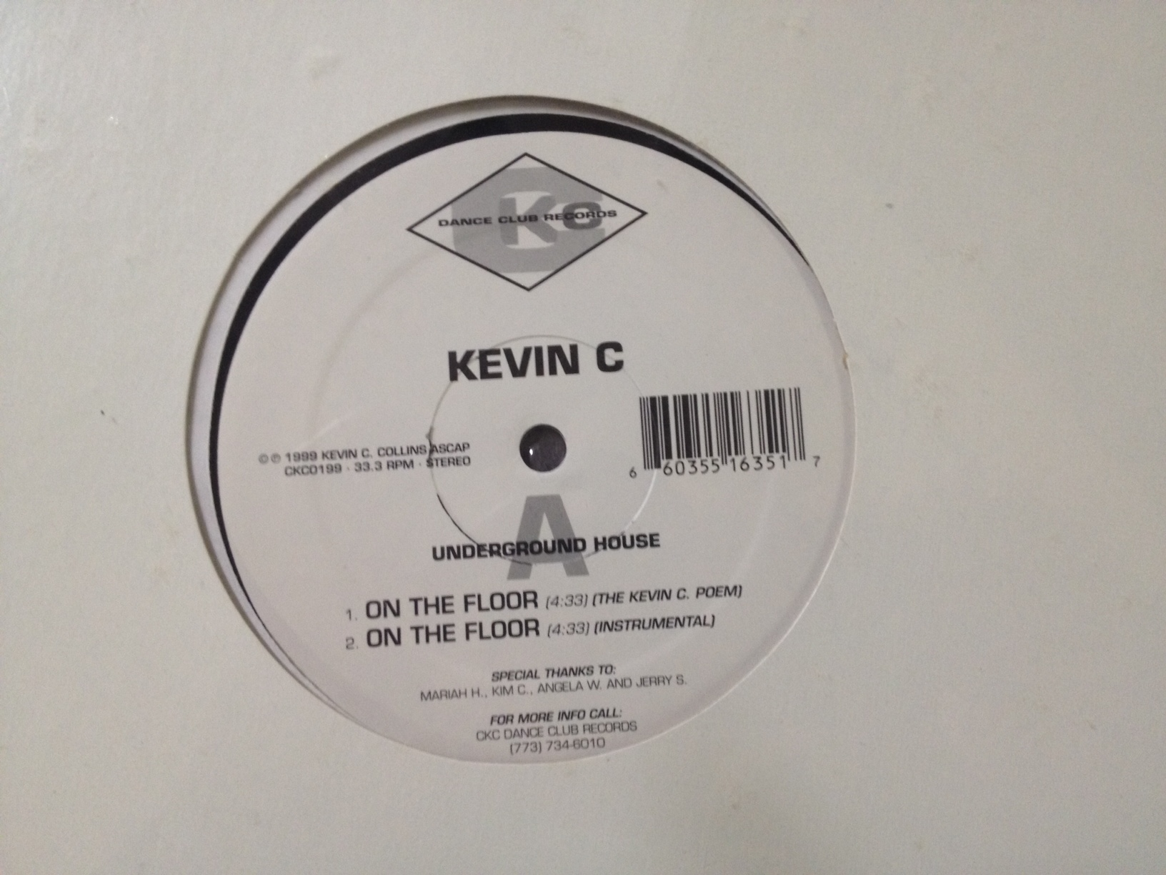 DJ Kevin C./ON THE FLOOR 12""