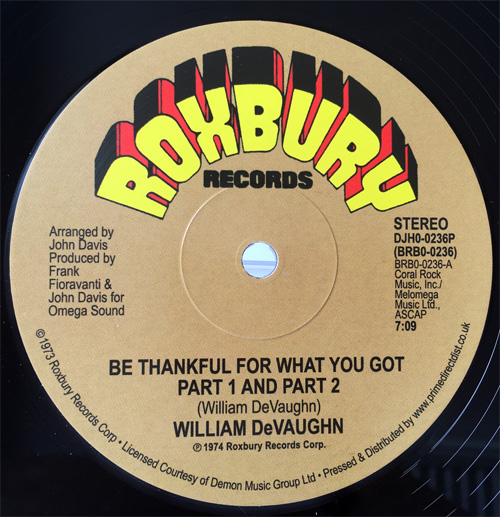 William DeVaughn/BE THANKFUL... 12""