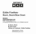 "Eddie Fowlkes/BOOM BOOM 12"""