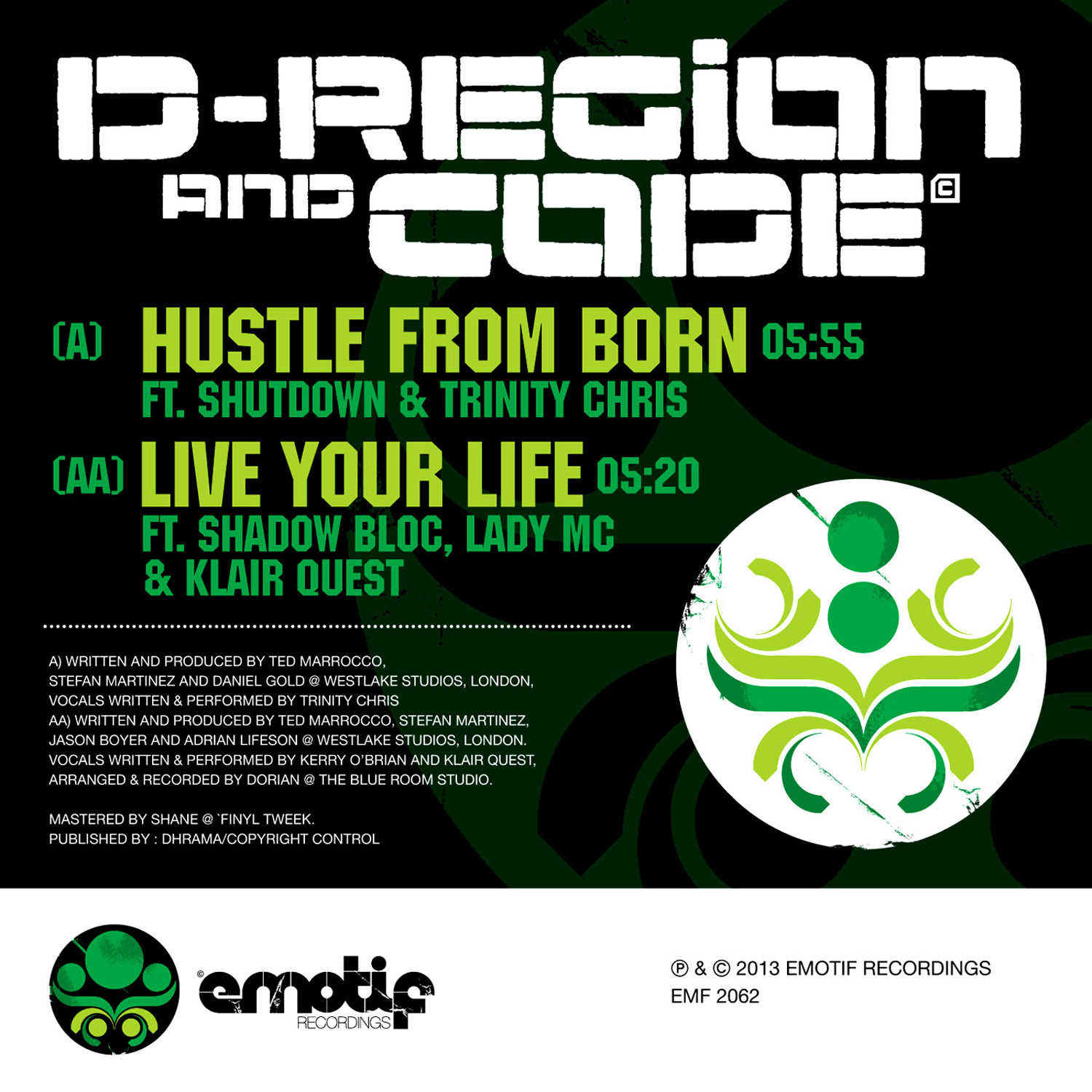 D-Region & Code/HUSTLE FROM BORN 12""