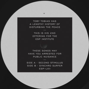 "Toby Tobias/SECOND STIMULUS 12"""