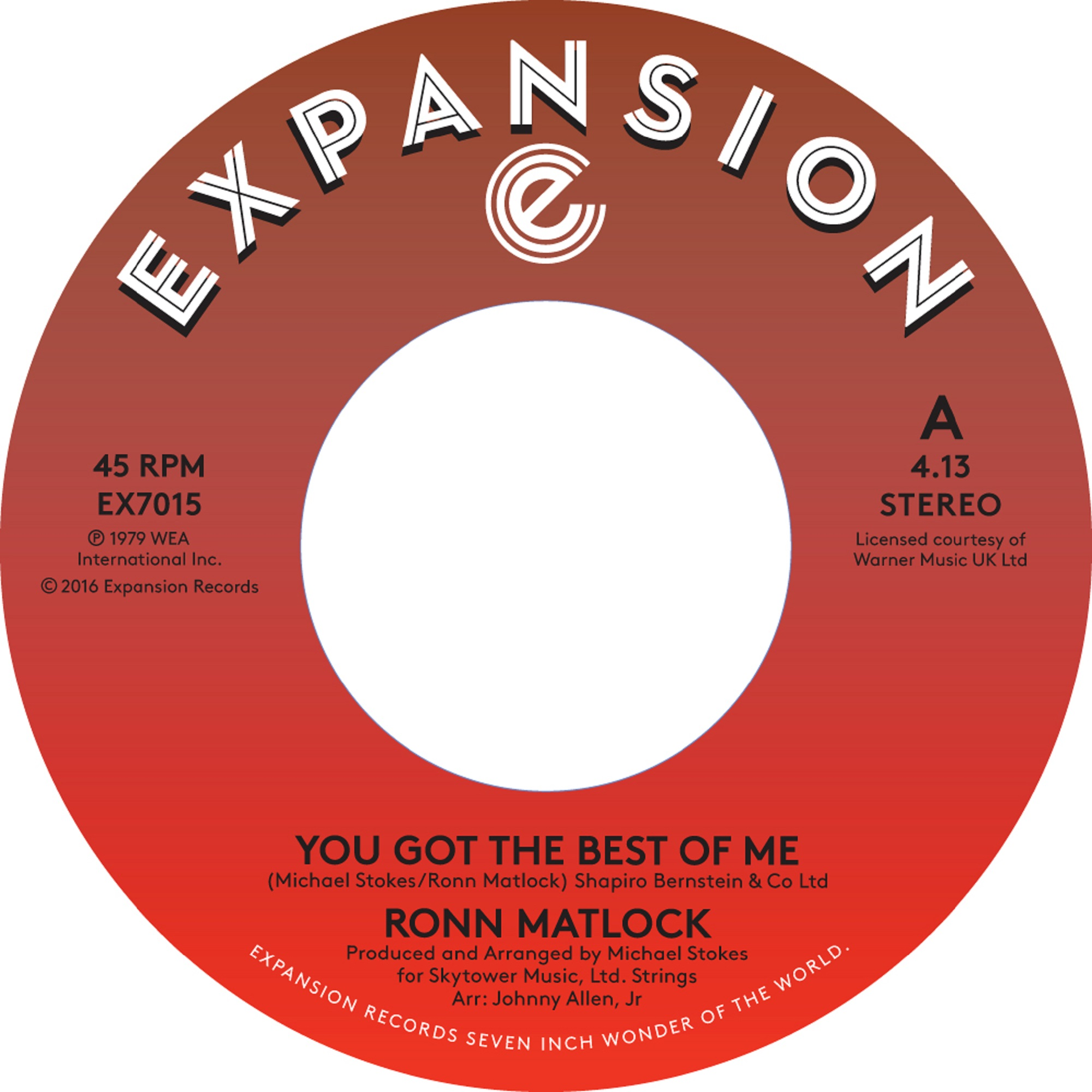Ronn Matlock/YOU GOT THE BEST OF ME 7""