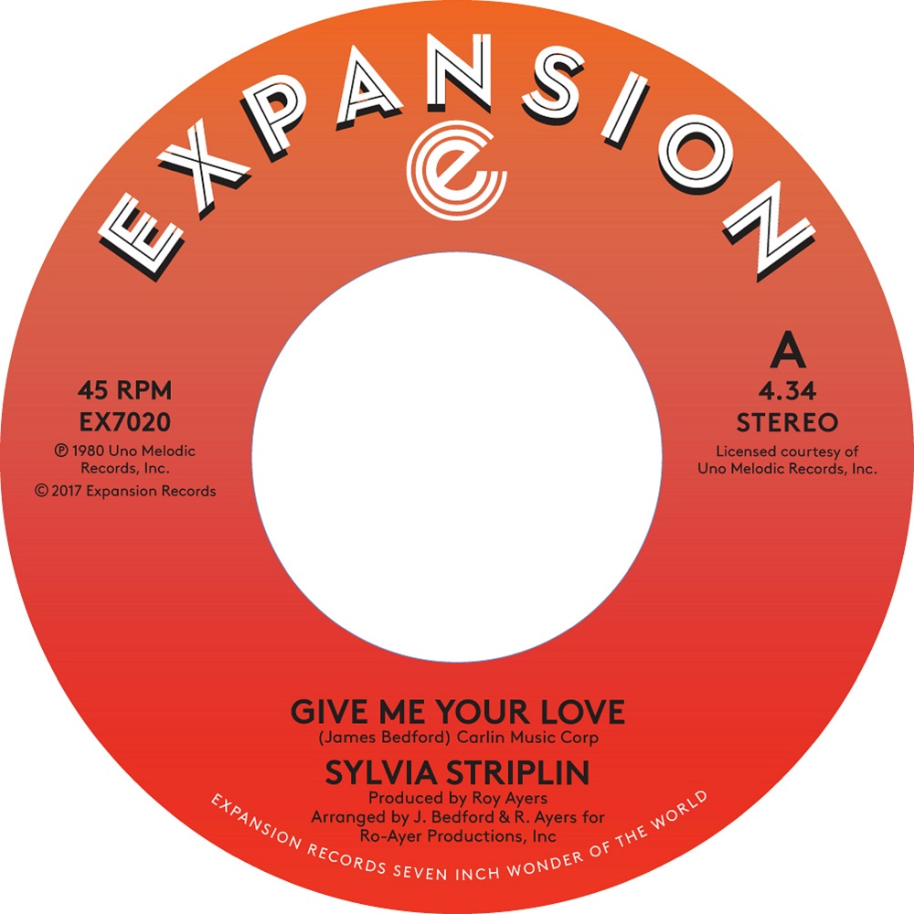 "Sylvia Striplin/GIVE ME YOUR LOVE 7"""