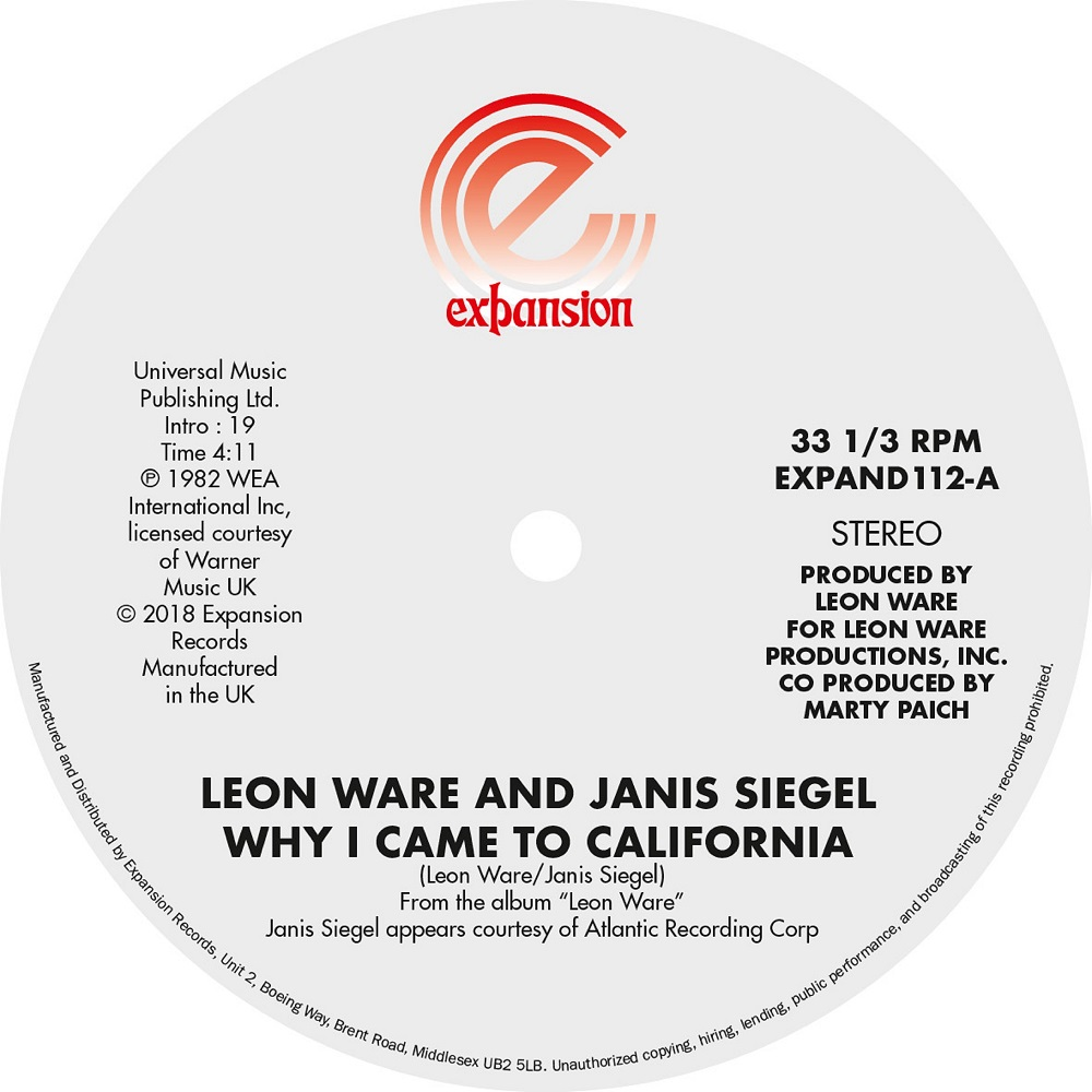 Leon Ware/WHY I CAME TO CALIFORNIA 12""