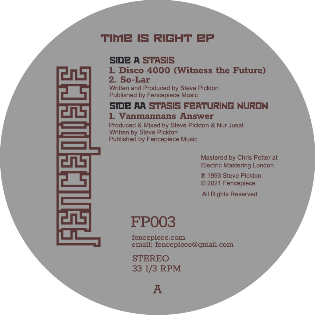 Stasis/TIME IS RIGHT 12""