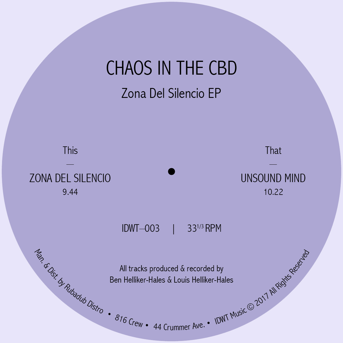 Chaos In The CBD/ZONA DEL SILENCIO 12""