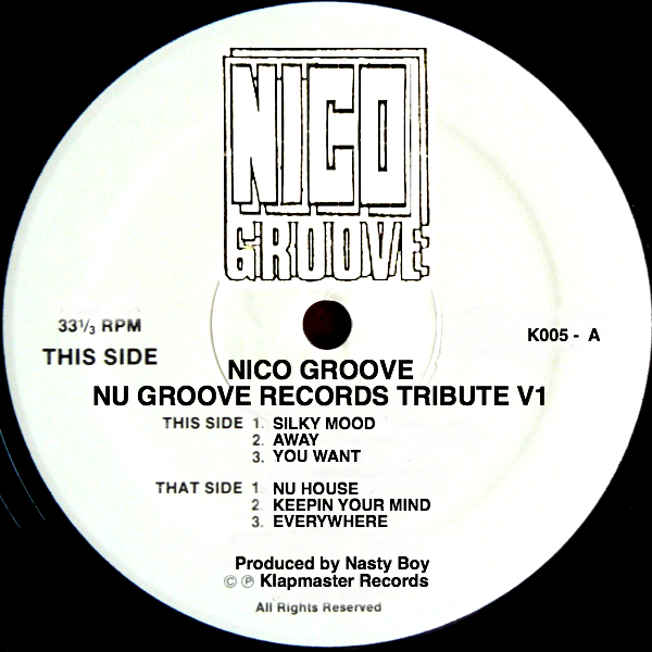 """Nico Groove/NU GROOVE RECORDS V1 12"""""""
