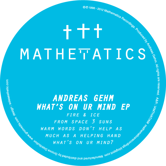 """Andreas Gehm/WHAT'S ON UR MIND EP 12"""""""