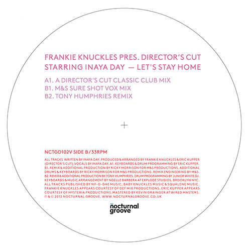 Frankie Knuckles/LET'S STAY HOME 12""