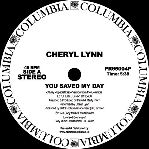 Cheryl Lynn/YOU SAVED MY DAY 12""