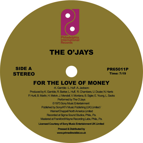 O'Jays/FOR THE LOVE OF MONEY 12""