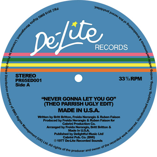 """Made In USA/NEVER GONNA LET YOU GO 12"""""""