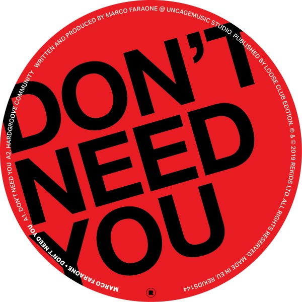 Marco Faraone/DON'T NEED YOU 12""