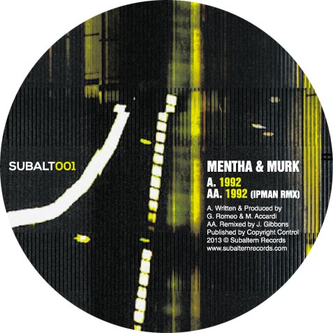 """Mentha & Murk/1992 (IPMAN REMIX) 12"""""""