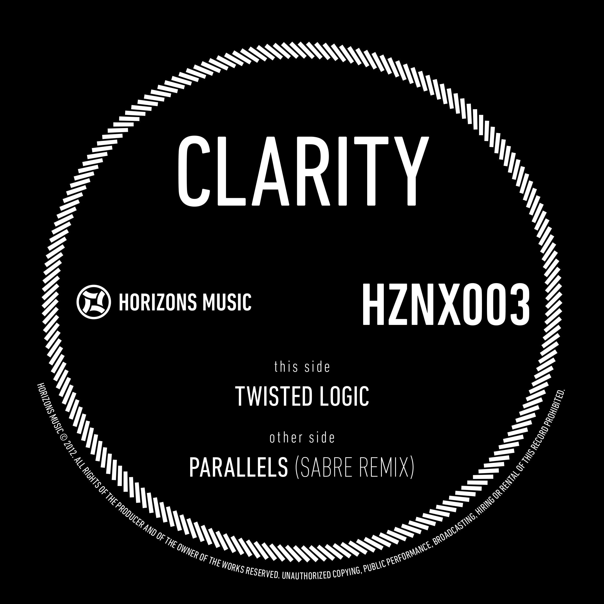 "Clarity/PARALLELS (SABRE REMIX) 12"""