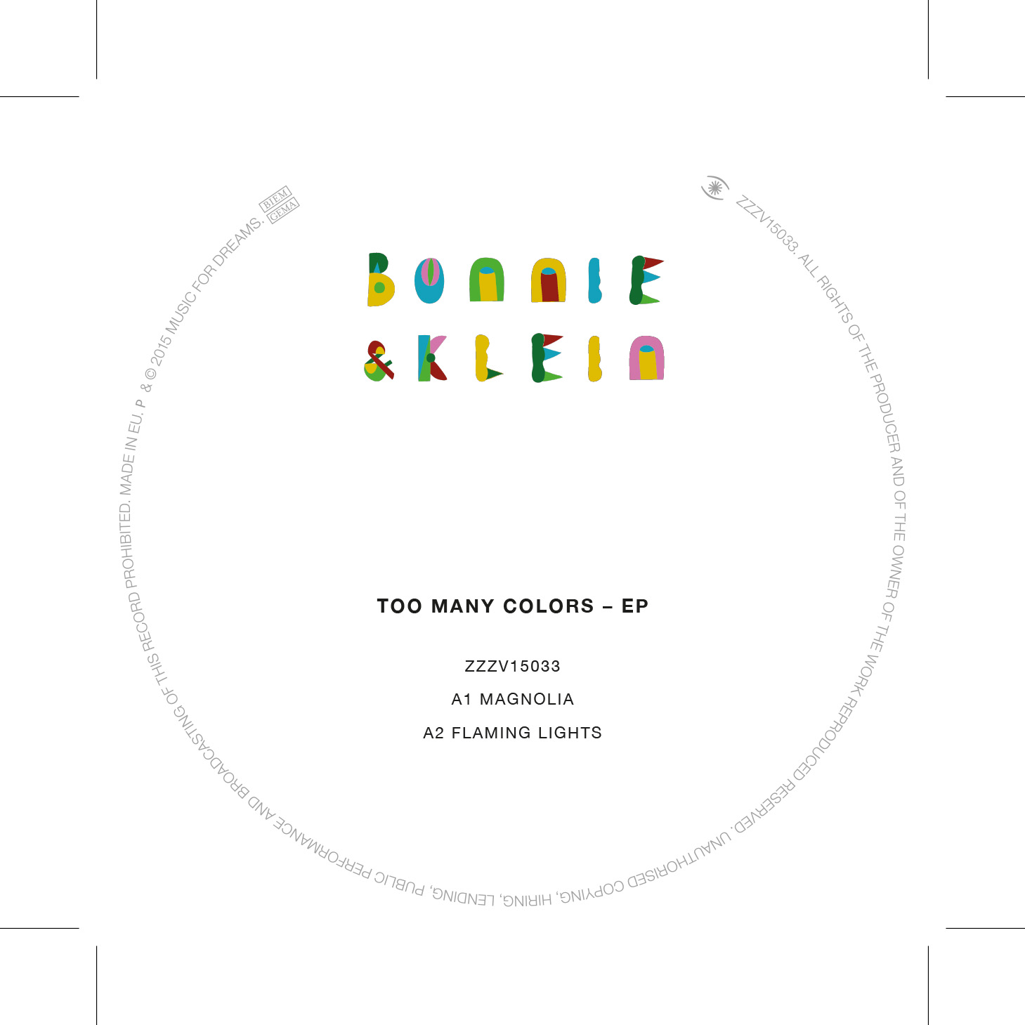 Bonnie & Klein/TOO MANY COLORS EP 12""