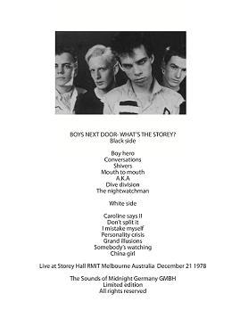 Boys Next Door/WHAT'S THE STOREY  LP