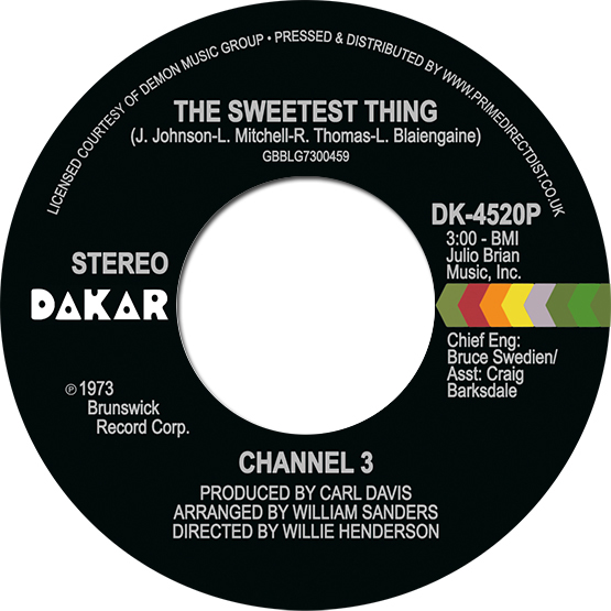 """Channel 3/THE SWEETEST THING 7"""""""