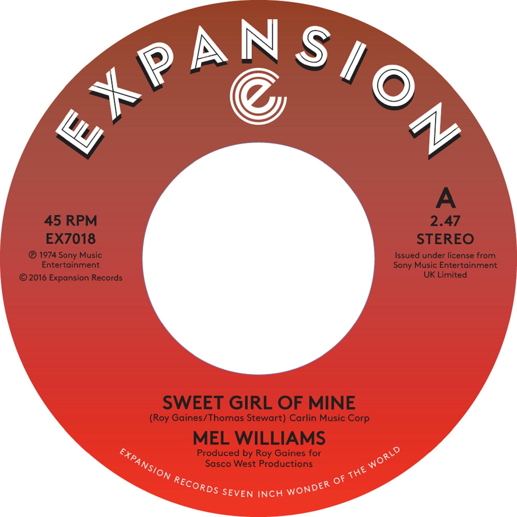 "Mel Williams/SWEET GIRL OF MINE 7"""