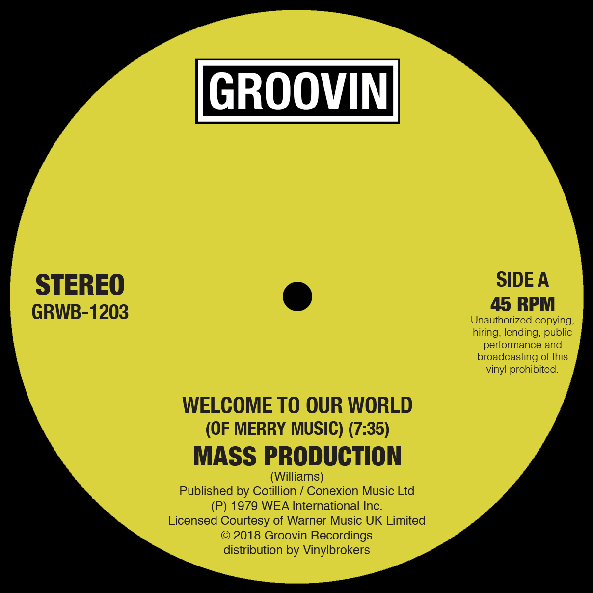 """Mass Production/WELCOME TO OUR WORLD 12"""""""