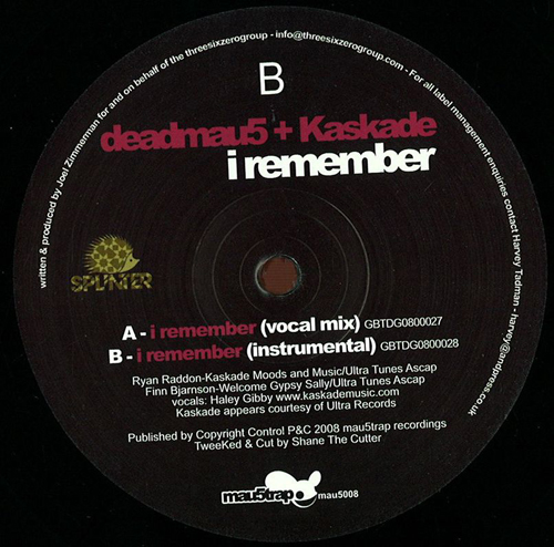 Deadmau5/I REMEMBER (WITH KASKADE) 12""