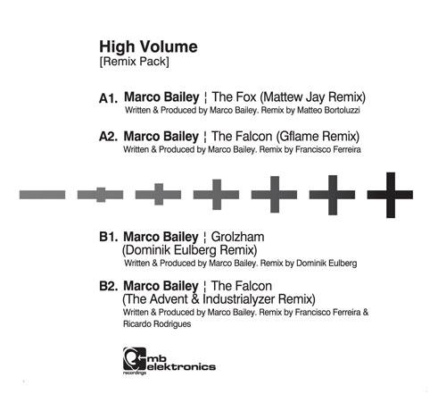 "Marco Bailey/HIGH VOLUME (RMX PACK) 12"""