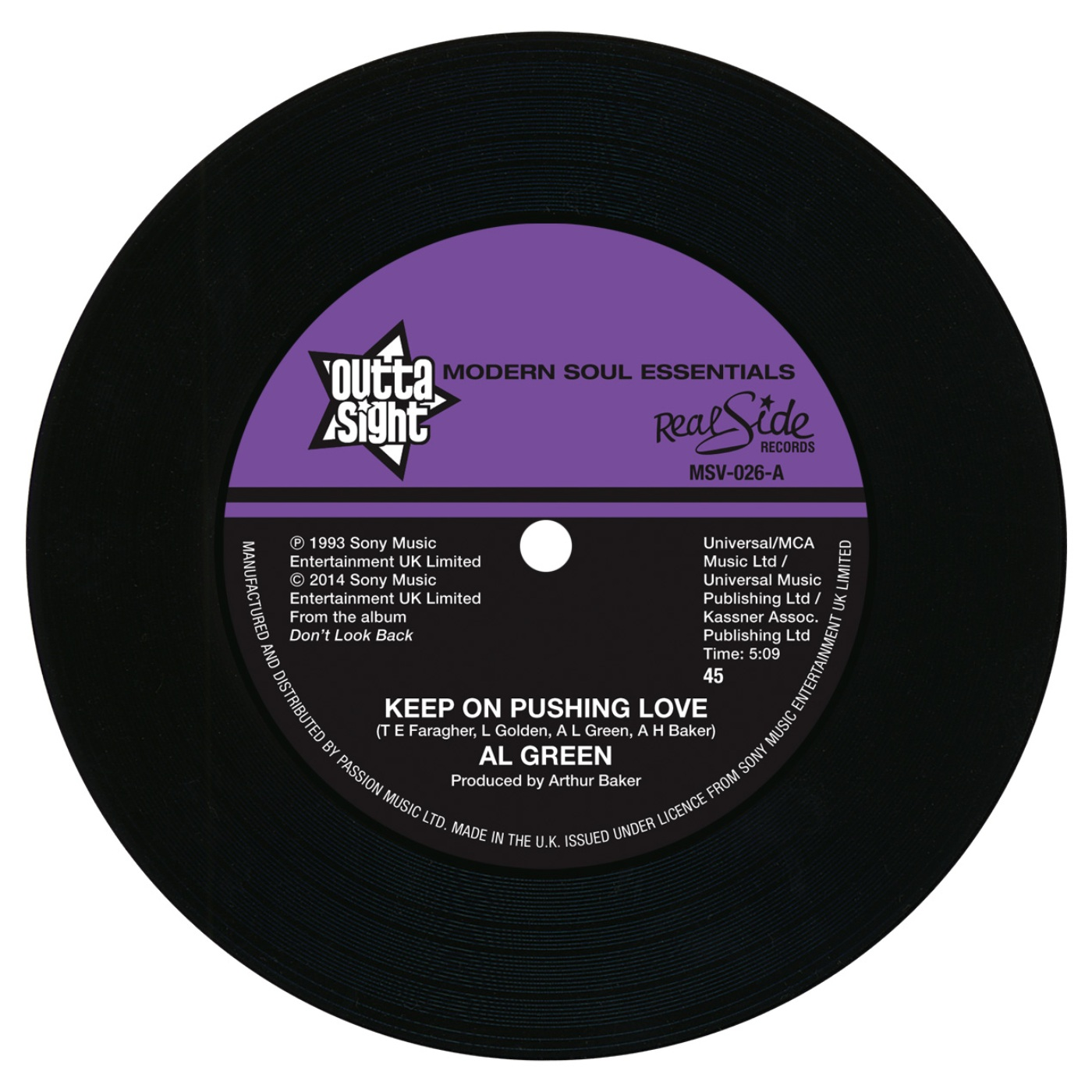 Al Green/KEEP ON PUSHING LOVE 7""