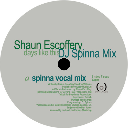 "Shaun Escoffery/DAYS (DJ SPINNA MIX) 12"""