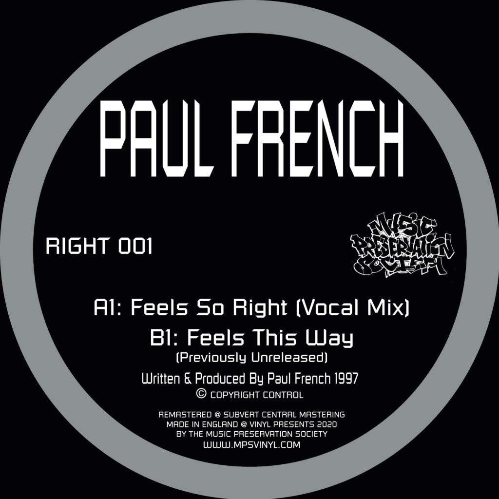 """Paul French/FEELS SO RIGHT 12"""""""