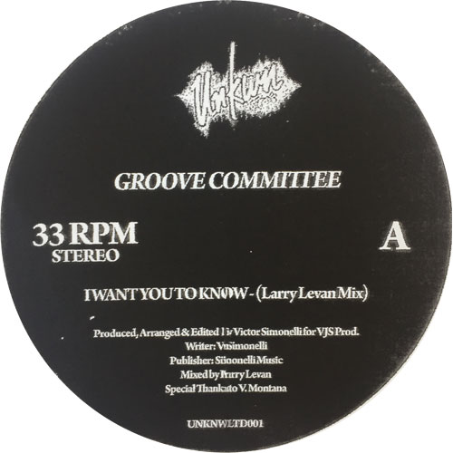 """Groove Committee/I WANT YOU TO KNOW 12"""""""